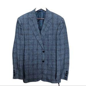 Canali luxury suit blazer in plaid blue/navy/grey
